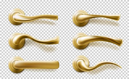 Realistic door handles set, golden knobs of different shapes isolated on transparent background. Shiny gold modern metal doorknobs, design element for interior, 3d vector illustration, icon, clip art Illustration