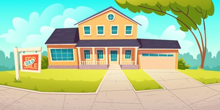 Suburban cottage with sign sold. Residential house with garage for sale. Vector cartoon illustration of village mansion. Real estate purchase, private building in countryside or town Banque d'images - 148176440