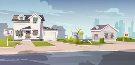 Abandoned houses for sale, crashed cottages with boarded up and broken windows, cracked walls and signboards on front yard. Old ruined buildings in downtown suburb area. Cartoon vector illustration