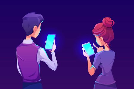 People using smartphone app. Man and woman hold mobile phone with shiny blue screen back view. Vector cartoon illustration with gadget users. Advertising of mobile device application Ilustración de vector