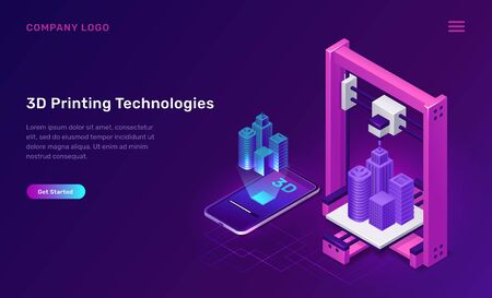 3D printer technology, isometric concept vector illustration. 3D printer prototype manufactures building, dimensional virtual model above mobile phone, screen shows production process, purple banner Ilustração