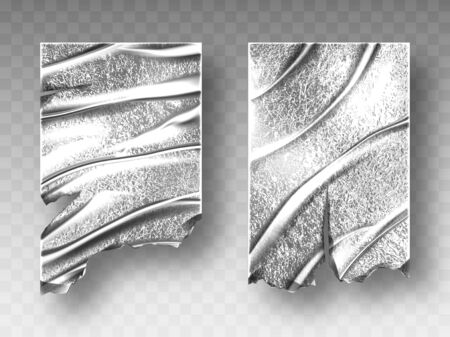 Silver foil, crumpled metal texture with ragged edge isolated on transparent background, aluminum or steel folded curtain, wrapping paper sheets, wrinkled shiny material, Realistic 3d vector tinfoil Illustration