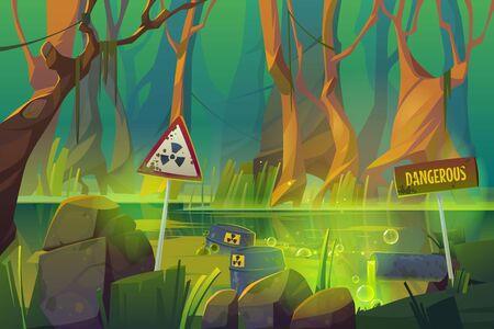 Stench dirty swamp with wastewater pipe, toxic waste barrels and warning signs. Vector cartoon illustration of environment pollution, global ecology problem. Forest and marsh with garbage
