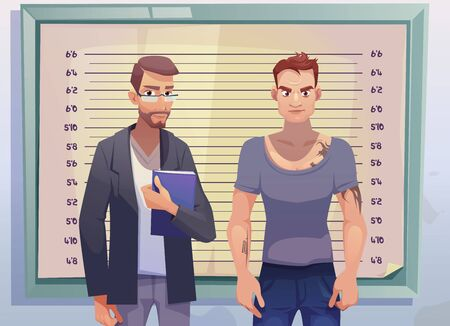 Criminal and lawyer or investigator stand on measuring scale background in police station. Arrested man gangster with tattooed body posing for identification mugshot photo. Cartoon vector illustration