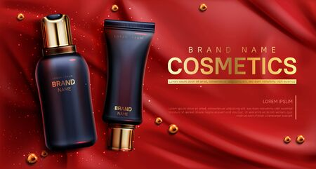 Cosmetics bottles mockup banner. Beauty body care product on red silk draped fabric background with scattered golden pearls. Luxury promo poster template for magazine, realistic 3d vector illustration
