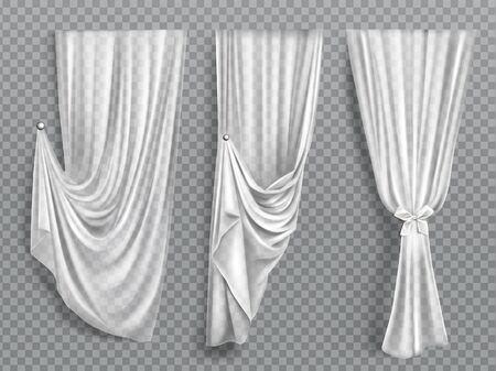 White window curtains set, folded cloth for interior decoration isolated on transparent background. Soft lightweight clear material, fabric drapery of different forms. Realistic 3d vector illustration