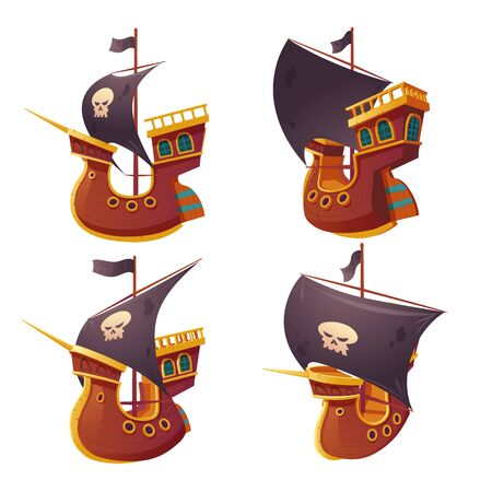 Pirate ship set isolated on white background. Wooden boat with black sails, cannon holes and sailyards. Corvette or frigate with buccaneer flag skull and bones. Old battleship, barge cartoon vector