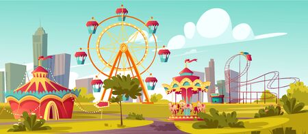 Amusement park, carnival or festive fair cartoon vector illustration. Circus tent arrow pointer, carousel, merry-go-round, ferris wheel and roller coaster, children summer city fun nature background Vectores