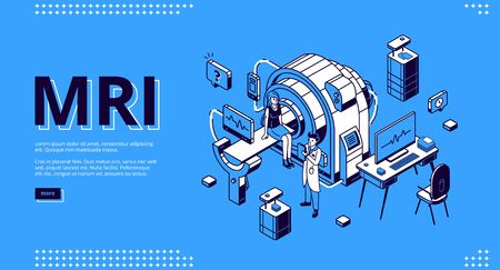 Mri scanner with patient and doctor isometric landing page. Woman in room for magnetic resonance imaging, digital technology in medicine diagnostic, ultrasonography 3d vector line art, web banner Ilustracja
