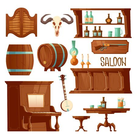 Cowboy saloon, western retro bar furniture and stuff set. Wooden swing door, table, chair and piano, counter desk with beer taps, wine barrel, banjo and skull, Cartoon vector illustration, clip art Illustration