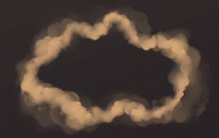 Smoke circle, round wavy smog cloud frame, brown heavy dust steam with motes, sand and soil particles isolated on transparent background. Cigarette vapor realistic 3d vector illustration, clip art