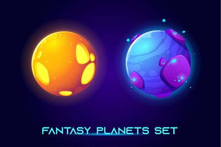 Fantasy space planets for ui galaxy game. Vector cartoon icons set of magic alien world, fantastic cosmic objects with stones, liquid core, holes. Fantastic astronomy collection