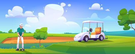 Golfer playing golf on green field hitting ball with club near cart on nature course landscape background with sand bunker and trees under blue cloudy sky. Sport tournament cartoon vector illustration