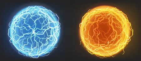 Electric balls, plasma spheres, lightning circle strike in blue and orange colors. Powerful electrical discharge, magical energy flash isolated on black background, Realistic 3d vector illustration Vettoriali