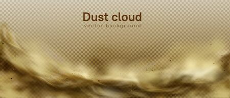 Desert sandstorm, brown dusty cloud or dry sand flying with gust of wind, big explosion realistic texture with small particles or grains vector frame, border isolated on transparent background 写真素材 - 148176381