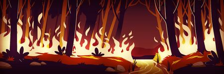Burning wildfire at night. Fire in forest. Vector cartoon illustration of burnt landscape, nature disaster, ecology catastrophe. Flame on grass and trees in Amazonia, Australia or California forest