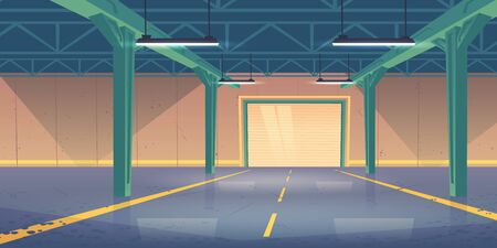 Empty warehouse interior with rolling shatter gates, concrete flooring, illuminating lamps on ceiling. Delivery service industrial storehouse, rental storage facility, Cartoon vector illustration