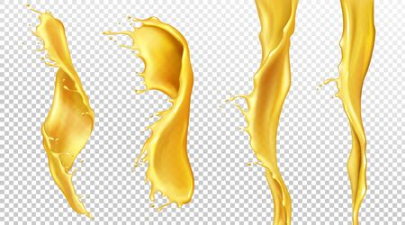 Orange juice streams with drops, liquid splashes of yellow drink set. Tropical fruit beverage, elements for advertising or package design. Fresh splashing and flowing jets realistic 3d vector clip art