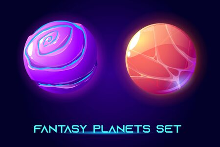Fantasy space planets for ui galaxy game. Vector cartoon icons set of magic alien world, fantastic cosmic objects with liquid core, holes and spiral. Fantastic astronomy collection