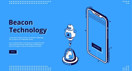 Beacon technology isometric landing page. Robot near smartphone, Internet of things, communication network, exchange and share information using wireless connection, iot. 3d vector line art web banner