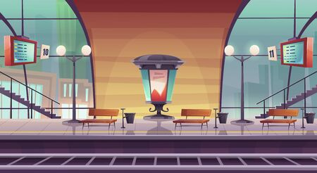 Railway station, empty railroad platform for train with glass dome, morris billboard pillar, arrival boards and benches, passengers waiting area, public transportation Cartoon vector illustration