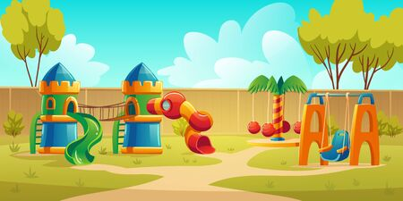Kids playground in summer park, garden or backyard with carousel, spiral tube slide and swing. Vector cartoon illustration of kindergarten play ground, castle with slides on green lawn Illustration