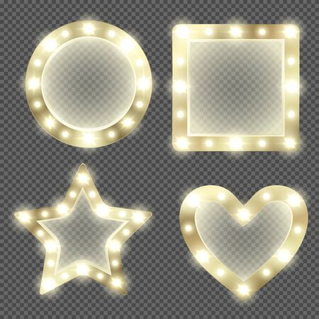 Makeup mirror in gold frame with light bulbs. Vector realistic round, square, heart and star shape mirrors for theater actors or fashion model dressing room isolated on transparent background Vektorgrafik
