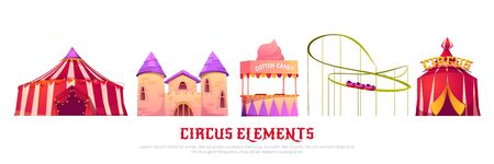 Carnival funfair with circus tent, roller coaster, castle and candy cotton cart. Vector cartoon set of attractions in summer amusement park isolated on white background Vectores