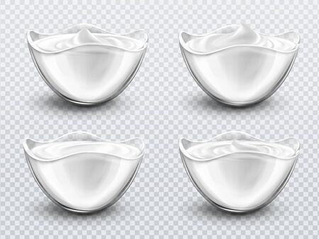 Bowl with sauce, sour cream, mayonnaise or yogurt realistic vector. Glass cup with fresh dairy product, creamy cheese or sweet mousse with swirl isolated on transparent background, 3d illustration