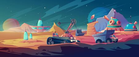 Planet colonization and space mining, excavator and truck driving near alien futuristic buildings, mars surface mineral deposit extraction, scientific exploration research, Cartoon vector illustration