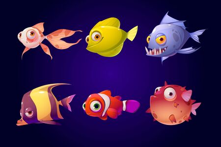 Sea fish set, tropical colorful aquarium and ocean underwater creatures with cute smiling faces and big eyes, characters for computer game, goldfish, piranha, clown, puffer Cartoon vector illustration