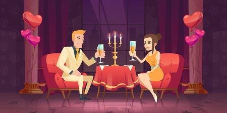 Couple romantic date dinner, man and woman with wineglass in hand sitting at table with burning candles in dark room at window with cityview drink champagne, heart balloons Cartoon vector illustration