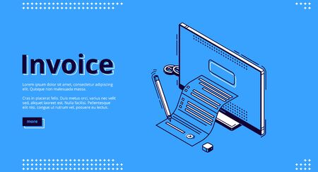 Invoice isometric landing page. Large bill for tax or service payment coming out of computer desktop screen. Shopping, banking, accounting paycheck, smart technologies 3d vector line art web banner