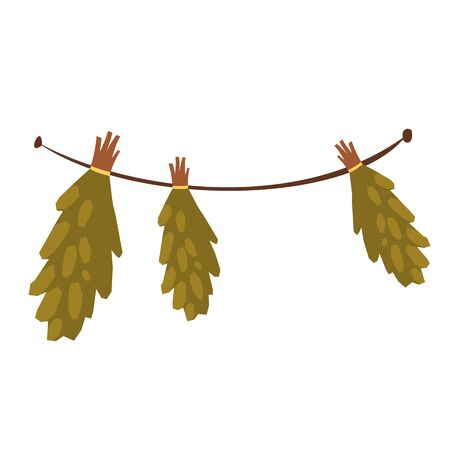 Hanging birch brooms for traditional russian banya or finland sauna. Vector cartoon illustration of bunches of medical herbs for alternative therapy isolated on white background Ilustracja