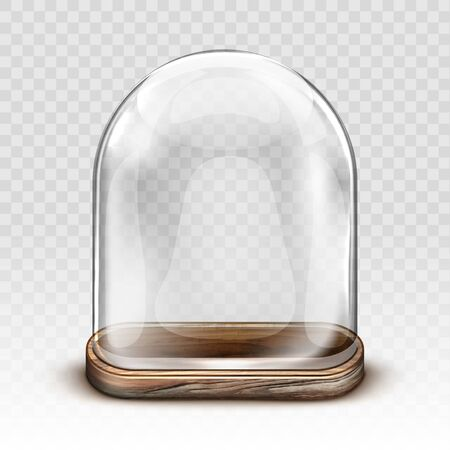 Glass dome and old wooden tray realistic vector. Vintage transparent glass dome square shape with retro wood plate, storage container, product presentation case with reflection, isolated illustration Vettoriali