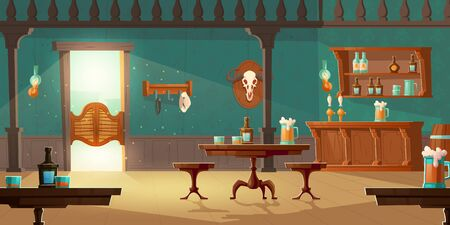 Cowboy saloon, western retro bar empty interior with wooden furniture and stuff, swing door, foamy beer pints on tables, chairs and counter desk, barrel, bottles and bull skull. Cartoon vector tavern