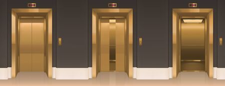 Golden lift doors. Office hallway with closed, slightly ajar and open elevator cabins. empty interior with passenger or cargo gold cabins, button panel and floor indicator on wall realistic 3d vector