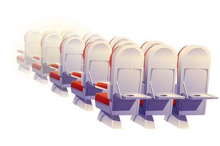 Airplane seats rear view isolated. Economy class plane empty chairs and folding tables row, aircraft salon places. Comfortable armchairs for journey, jet trip. Cartoon vector illustration, clip art