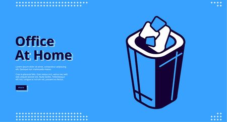 Office at home isometric landing page. Crumpled paper rubbish falling into litter bin at on blue background. Interior supplies and attributes for workplace, trash can, 3d vector line art web banner