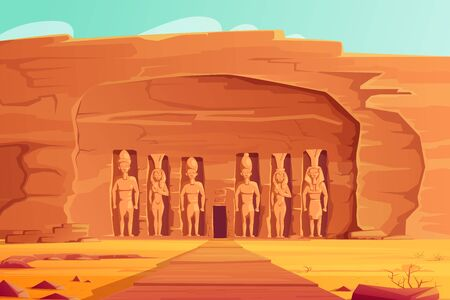 Ancient Egypt, Abu Simbel Small Temple, cartoon vector illustration. Rock carved temple facade with giant figures pharaoh Ramses and his wife Nefertari, travel Aswan landmark, World Heritage Monument