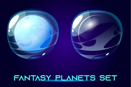 Fantasy space planets set for ui galaxy game. Vector cartoon icons of alien world, cosmic objects with solid sphere core and transparent bubble shell cover on blue background, astronomy collection 向量圖像