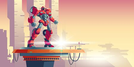 Red robot transformer standing on spaceship top against futuristic colonial background, cartoon vector illustration. Powerful robot transformed from car, alien invader, fantasy cyborg soldier