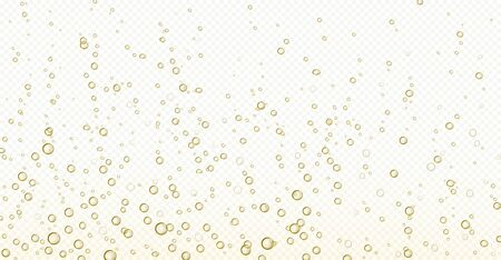 Soda bubbles, champagne, water or oxygen air fizz, carbonated drink or underwater abstract background. Dynamic motion, transparent aqua with randomly moving fizzing moisture drops, realistic 3d vector 일러스트