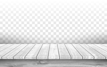 Wooden gray table top with aged surface, realistic vector illustration. Vintage dining table made of wood, realistic plank texture. Empty desk top isolated on transparent wall. Illustration