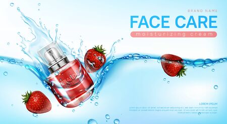 Face cream in glass jar in water splash with strawberries. Vector realistic brand poster with moisturizing skin care gel or makeup cosmetics in red bottle. Promo banner, advertising background