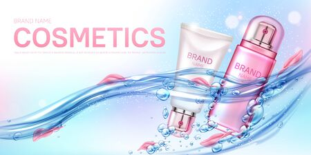 Cosmetics bottles floating in water with rose petals and air bubbles mockup background. Beauty cosmetic product tubes, makeup remover, cream or tonic ad poster Realistic 3d vector illustration, banner 矢量图像