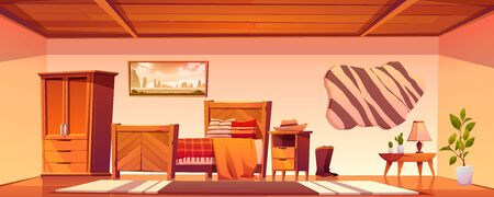 Cowboy bedroom interior with bed, wardrobe and hat on nightstand. Vector cartoon illustration of empty room in rural house in wild west, western ranch with bull skin on wall and wooden furniture Illustration
