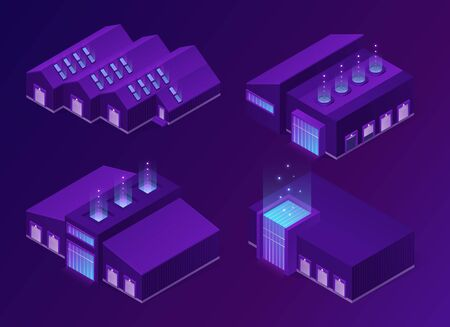 Isometric storehouse, logistics warehouse or factory buildings with lifting door, glass facade and ventilation system. Cargo and freight storage, industrial hangars 3d vector neon glowing illustration