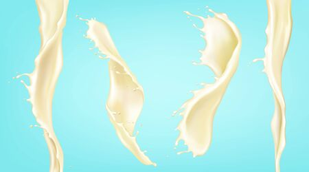 Vanilla milk splash and stream. Vector realistic mockup of spiral waves of liquid cream, yogurt, dairy drink. Twisted flow of milk with splash and drops isolated on blue background