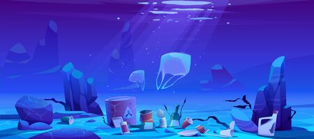 Pollution sea by plastic trash, garbage underwater. Vector cartoon landscape of ocean bottom with floating bags, piles of rubbish and bottles, barrel with toxic waste. Ecological disaster